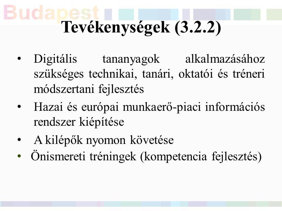 Tevékenységek (3.2.2) Digitális tananyagok alkalmazásához szükséges technikai, tanári, oktatói és tréneri módszertani fejlesztés Hazai és európai munkaerő-piaci információs rendszer kiépítése A kilépők nyomon követése Önismereti tréningek (kompetencia fejlesztés)
