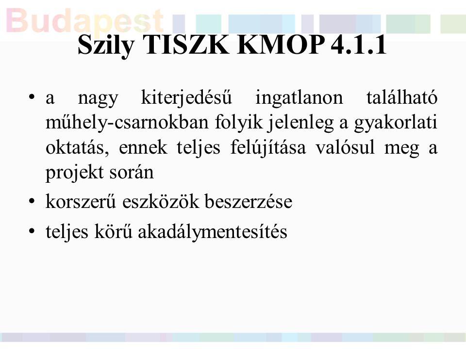 Szily TISZK KMOP 4.1.1 a nagy kiterjedésű ingatlanon található műhely-csarnokban folyik jelenleg a gyakorlati oktatás, ennek teljes felújítása valósul meg a projekt során korszerű eszközök beszerzése teljes körű akadálymentesítés