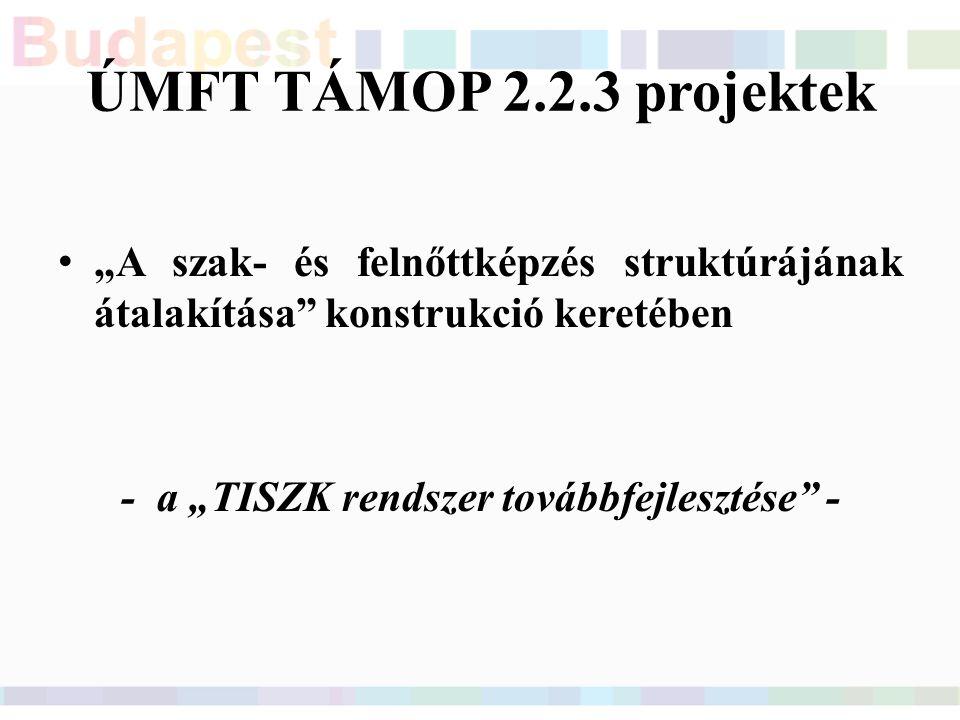"""ÚMFT TÁMOP 2.2.3 projektek """"A szak- és felnőttképzés struktúrájának átalakítása konstrukció keretében -a """"TISZK rendszer továbbfejlesztése -"""