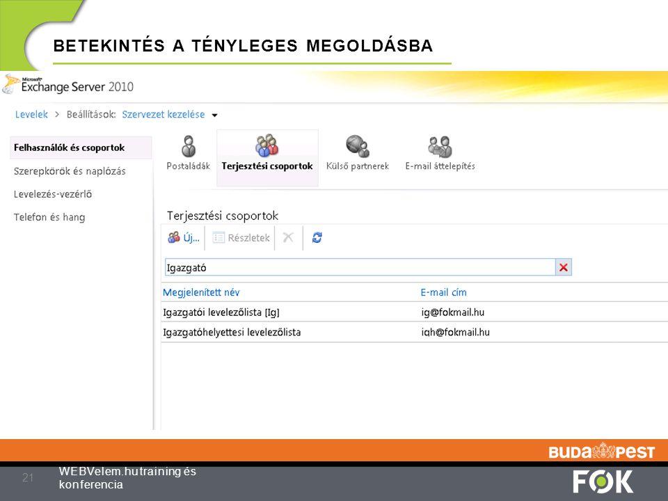 BETEKINTÉS A TÉNYLEGES MEGOLDÁSBA 21 WEBVelem.hu training és konferencia