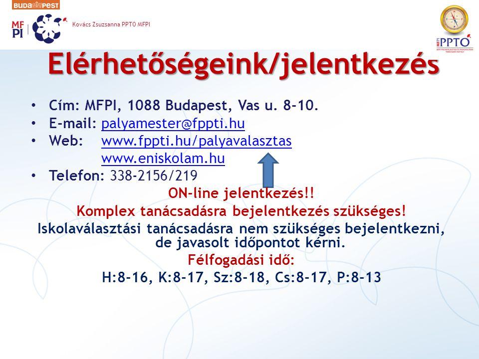 Elérhetőségeink/jelentkezés Cím: MFPI, 1088 Budapest, Vas u. 8-10. E-mail: palyamester@fppti.hupalyamester@fppti.hu Web: www.fppti.hu/palyavalasztasww