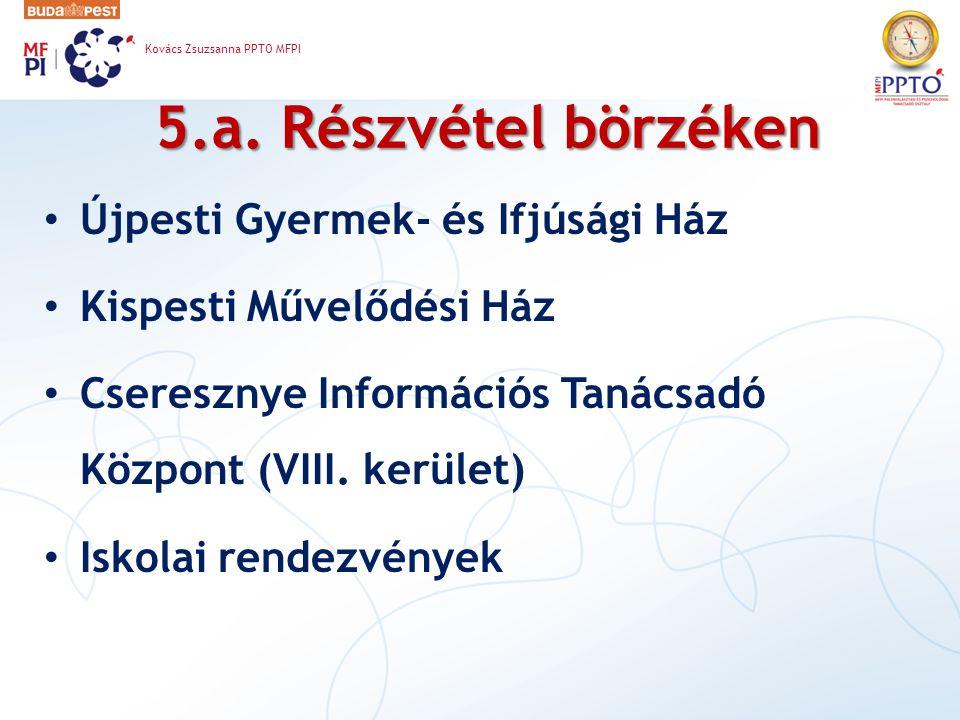 5.a. Részvétel börzéken Újpesti Gyermek- és Ifjúsági Ház Kispesti Művelődési Ház Cseresznye Információs Tanácsadó Központ (VIII. kerület) Iskolai rend