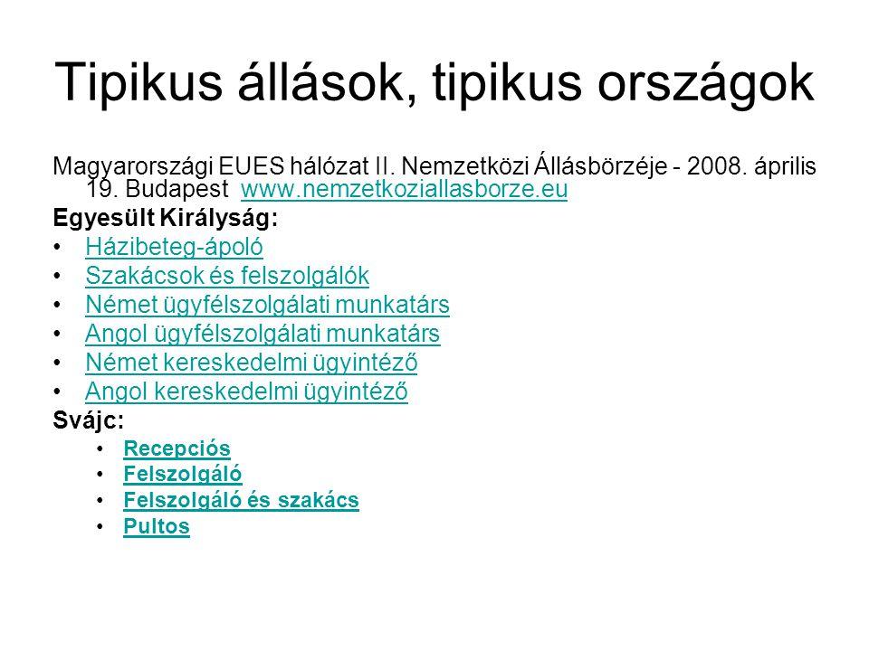 Tipikus állások, tipikus országok Magyarországi EUES hálózat II. Nemzetközi Állásbörzéje - 2008. április 19. Budapest www.nemzetkoziallasborze.euwww.n