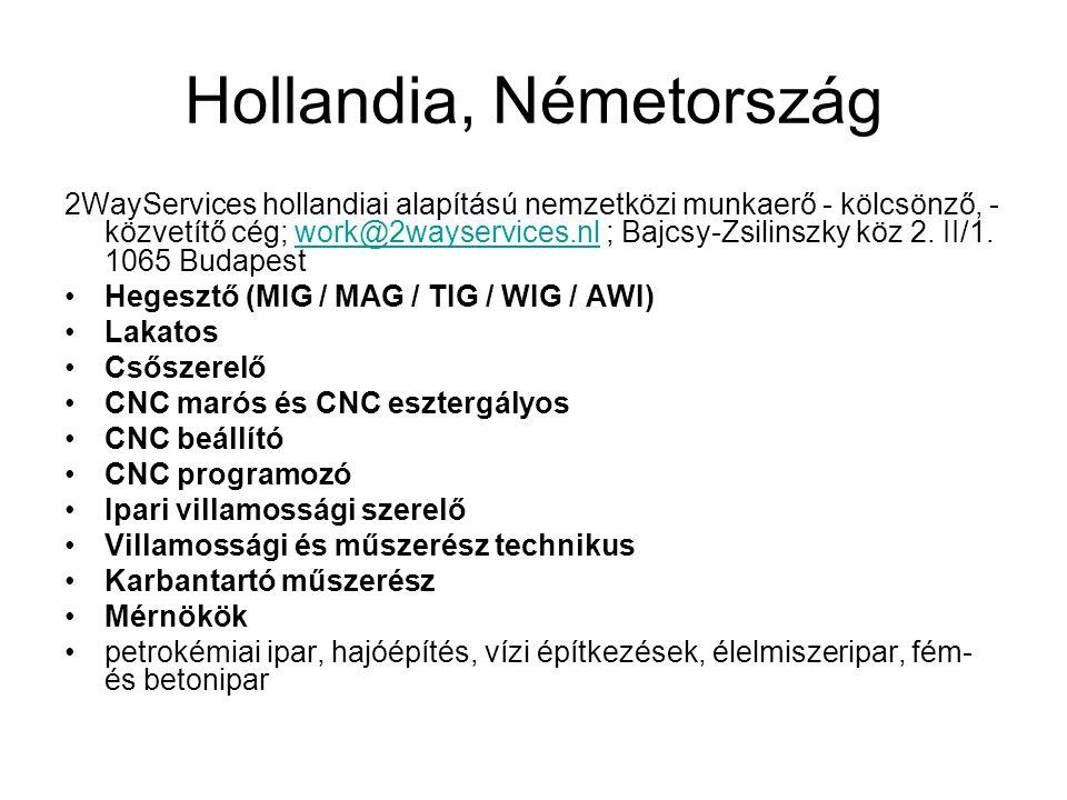 Hollandia, Németország 2WayServices hollandiai alapítású nemzetközi munkaerő - kölcsönző, - közvetítő cég; work@2wayservices.nl ; Bajcsy-Zsilinszky kö
