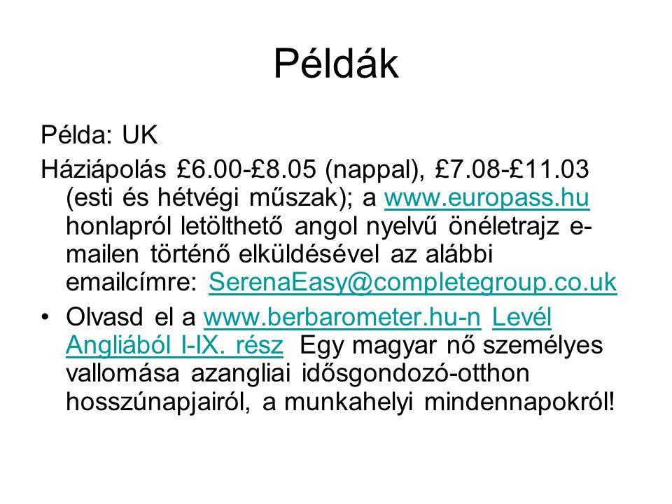Példák Példa: UK Háziápolás £6.00-£8.05 (nappal), £7.08-£11.03 (esti és hétvégi műszak); a www.europass.hu honlapról letölthető angol nyelvű önéletraj