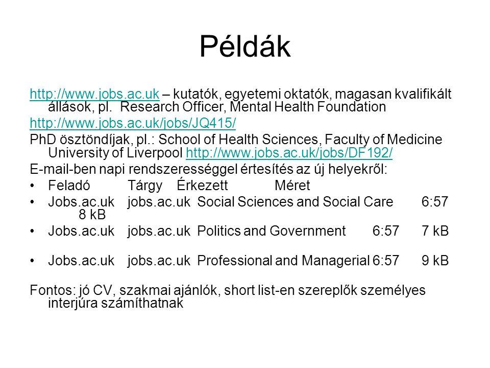 Példák http://www.jobs.ac.ukhttp://www.jobs.ac.uk – kutatók, egyetemi oktatók, magasan kvalifikált állások, pl. Research Officer, Mental Health Founda