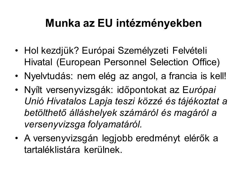 Munka az EU intézményekben Hol kezdjük? Európai Személyzeti Felvételi Hivatal (European Personnel Selection Office) Nyelvtudás: nem elég az angol, a f