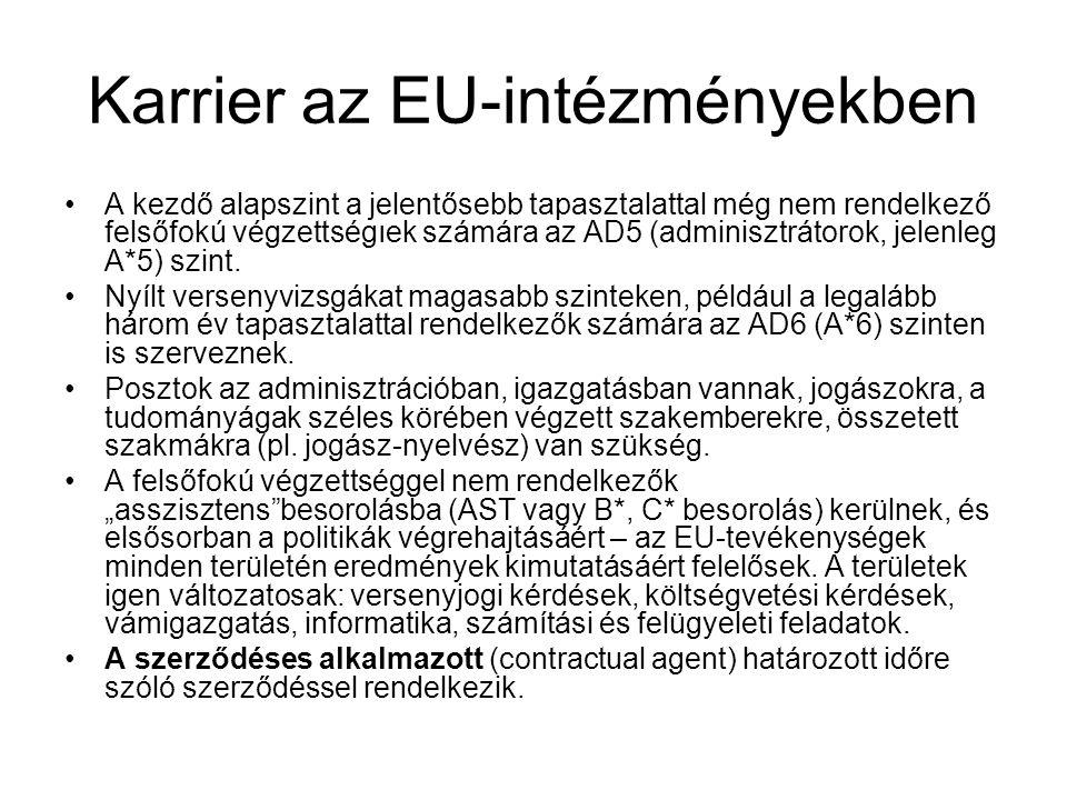 Karrier az EU-intézményekben A kezdő alapszint a jelentősebb tapasztalattal még nem rendelkező felsőfokú végzettségıek számára az AD5 (adminisztrátoro