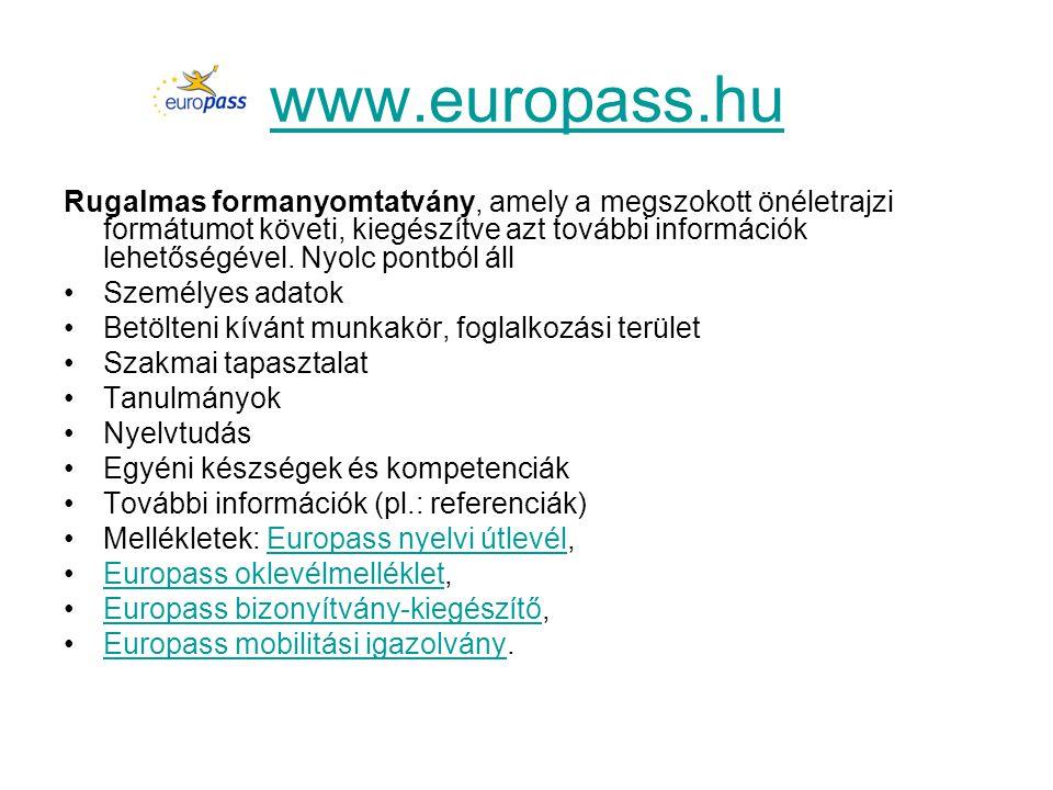 www.europass.hu Rugalmas formanyomtatvány, amely a megszokott önéletrajzi formátumot követi, kiegészítve azt további információk lehetőségével. Nyolc