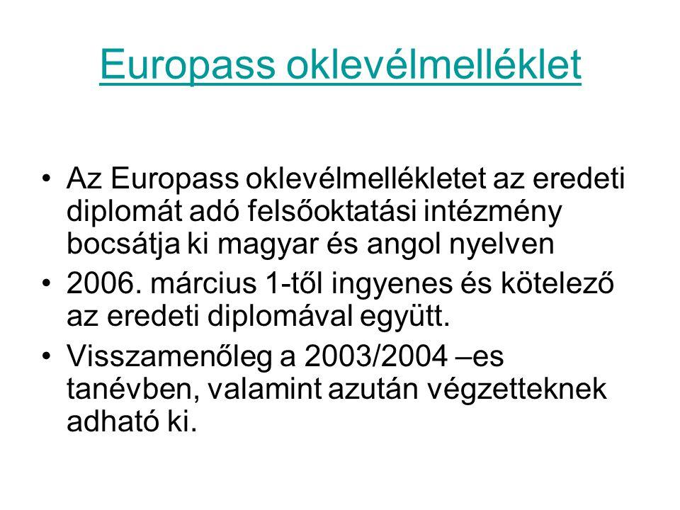 Europass oklevélmelléklet Az Europass oklevélmellékletet az eredeti diplomát adó felsőoktatási intézmény bocsátja ki magyar és angol nyelven 2006. már