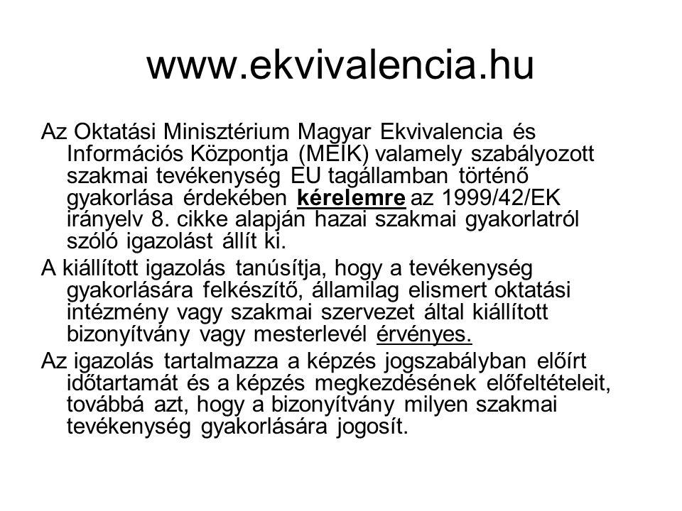 www.ekvivalencia.hu Az Oktatási Minisztérium Magyar Ekvivalencia és Információs Központja (MEIK) valamely szabályozott szakmai tevékenység EU tagállam