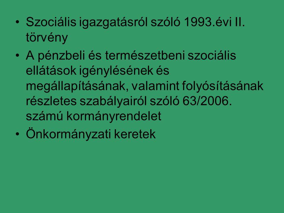 Szociális igazgatásról szóló 1993.évi II. törvény A pénzbeli és természetbeni szociális ellátások igénylésének és megállapításának, valamint folyósítá