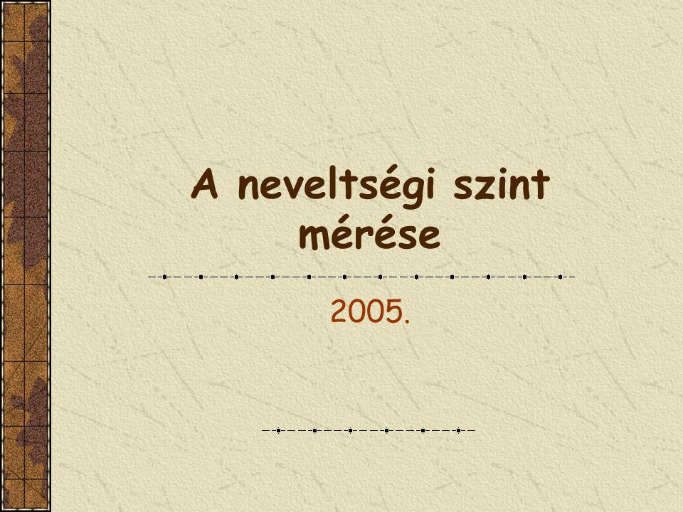 A neveltségi szint mérése 2005.