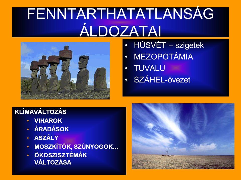 FENNTARTHATATLANSÁG ÁLDOZATAI HÚSVÉT – szigetek MEZOPOTÁMIA TUVALU SZÁHEL-övezet KLÍMAVÁLTOZÁS VIHAROK ÁRADÁSOK ASZÁLY MOSZKÍTÓK, SZÚNYOGOK… ÖKOSZISZT