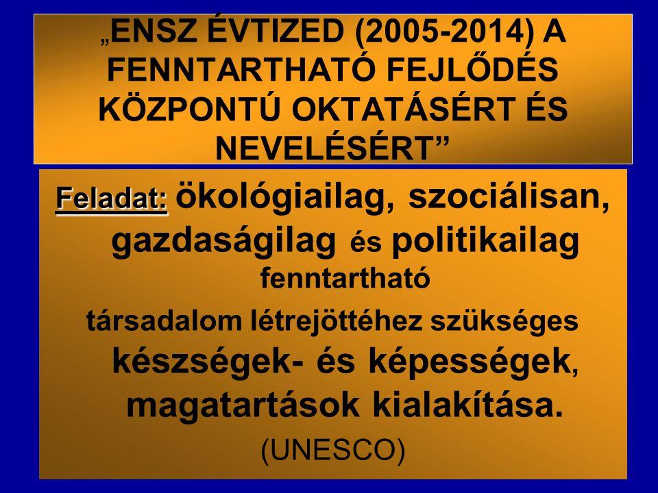 """"""" ENSZ ÉVTIZED (2005-2014) A FENNTARTHATÓ FEJLŐDÉS KÖZPONTÚ OKTATÁSÉRT ÉS NEVELÉSÉRT"""" Feladat: Feladat: ökológiailag, szociálisan, gazdaságilag és pol"""