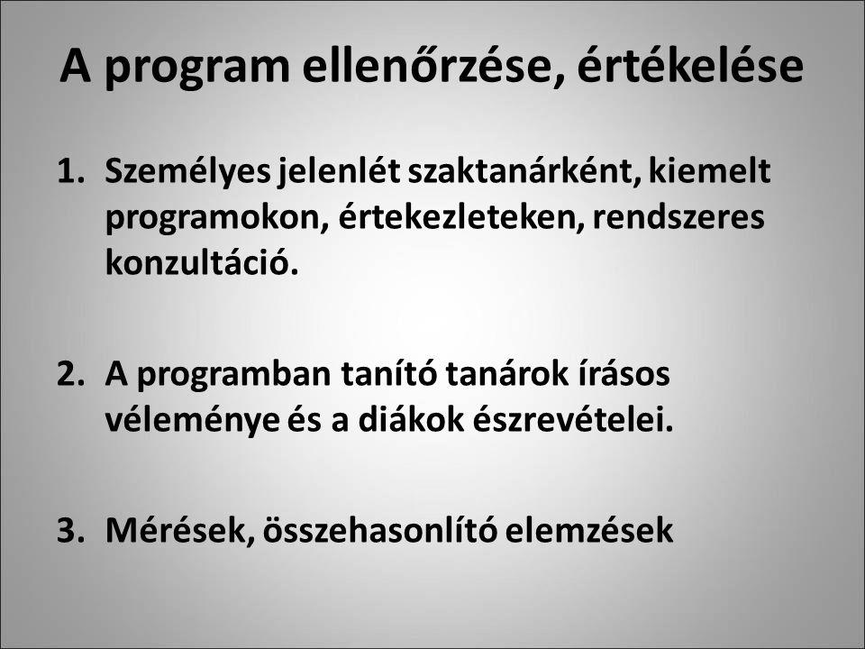 A program ellenőrzése, értékelése 1.Személyes jelenlét szaktanárként, kiemelt programokon, értekezleteken, rendszeres konzultáció.