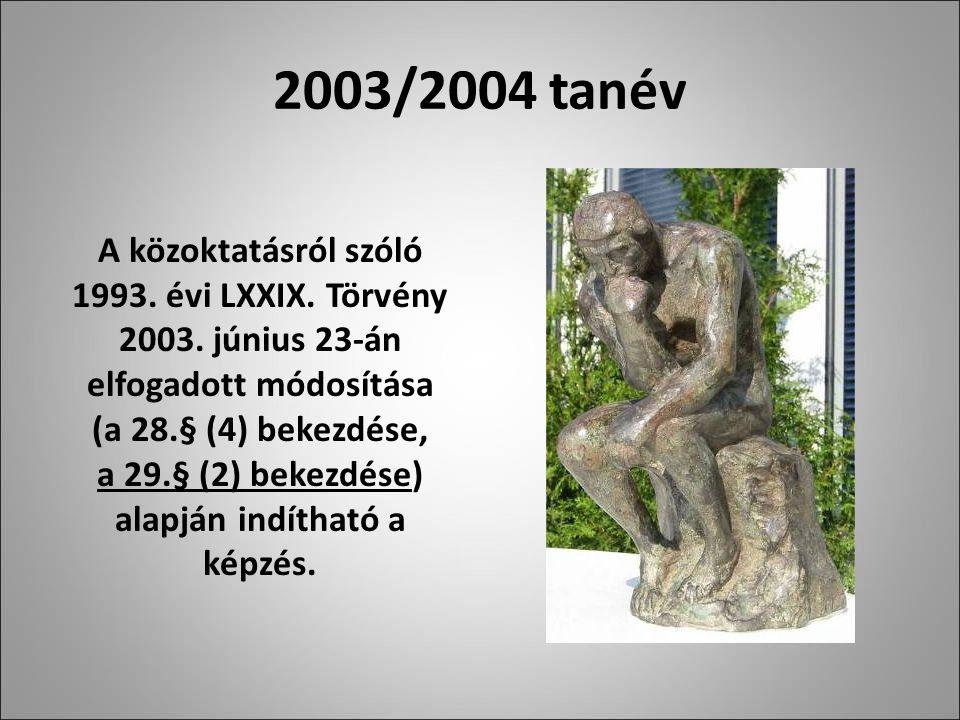 2003/2004 tanév A közoktatásról szóló 1993. évi LXXIX.