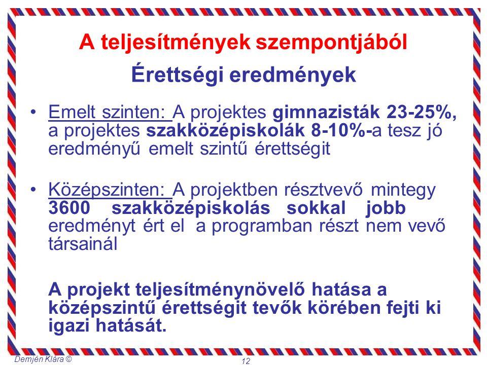 Demjén Klára © 12 A teljesítmények szempontjából Emelt szinten: A projektes gimnazisták 23-25%, a projektes szakközépiskolák 8-10%-a tesz jó eredményű