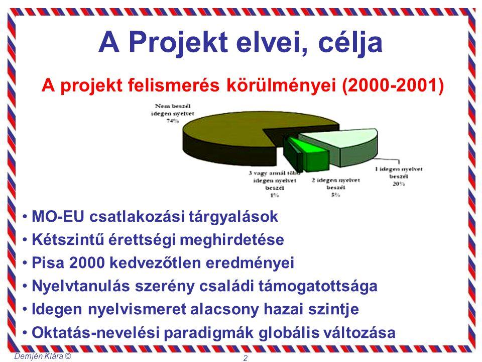 Demjén Klára © 2 A Projekt elvei, célja A projekt felismerés körülményei (2000-2001) MO-EU csatlakozási tárgyalások Kétszintű érettségi meghirdetése P