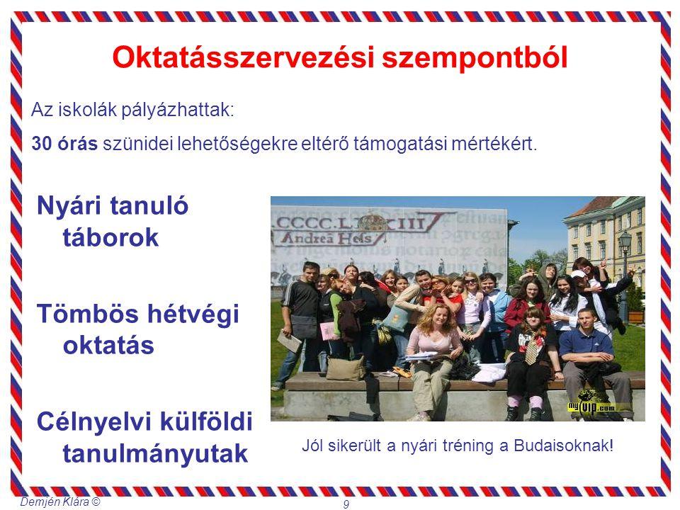 Demjén Klára © 9 Oktatásszervezési szempontból Nyári tanuló táborok Tömbös hétvégi oktatás Célnyelvi külföldi tanulmányutak Az iskolák pályázhattak: 3