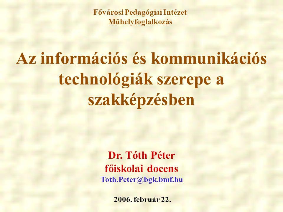 Az IKT alkalmazásának társadalmi és pedagógiai jelentősége Felgyorsult társadalmi-gazdasági fejlődés (információs társadalom) Minőségi általános- és szaktudás (tudásalapú társadalom) Az ismeretszerzés színtereiOktatási stratégiák Oktatási módszerek Információs és kommunikációs technológiák (IKT) Paradigmaváltás szükségessége a tanítási-tanulási folyamatban Élethosszig tartó tanulás iskolarendszerben iskolarendszeren kívül Elektronikus taneszközök Multimédia Hipermédia Tanulóközpontú tanulási környezet Önállóság, öntevékenység Képességfejlesztés PROBLÉMAMEGOLDÓ GONDOLKODÁS FEJLESZTÉSE