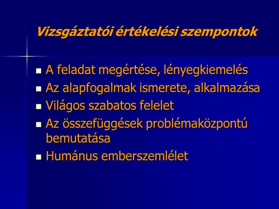 Vizsgáztatói értékelési szempontok A feladat megértése, lényegkiemelés Az alapfogalmak ismerete, alkalmazása Világos szabatos felelet Az összefüggések problémaközpontú bemutatása Humánus emberszemlélet