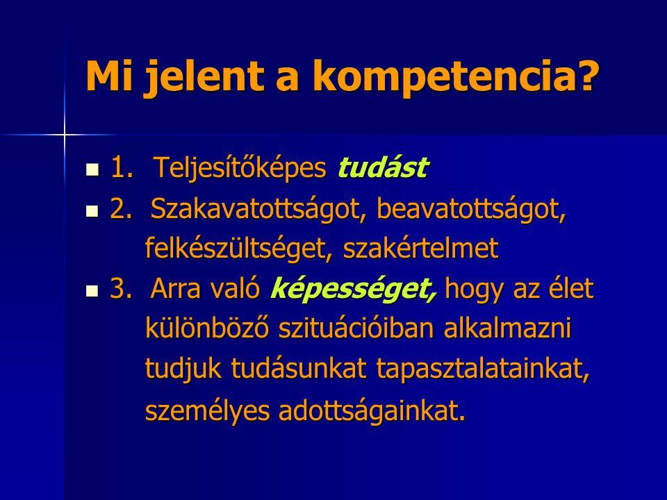 Mi jelent a kompetencia. 1. Teljesítőképes tudást 1.