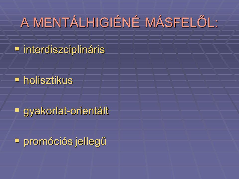 A MENTÁLHIGIÉNÉ MÁSFELŐL: iiiinterdiszciplináris hhhholisztikus ggggyakorlat-orientált ppppromóciós jellegű