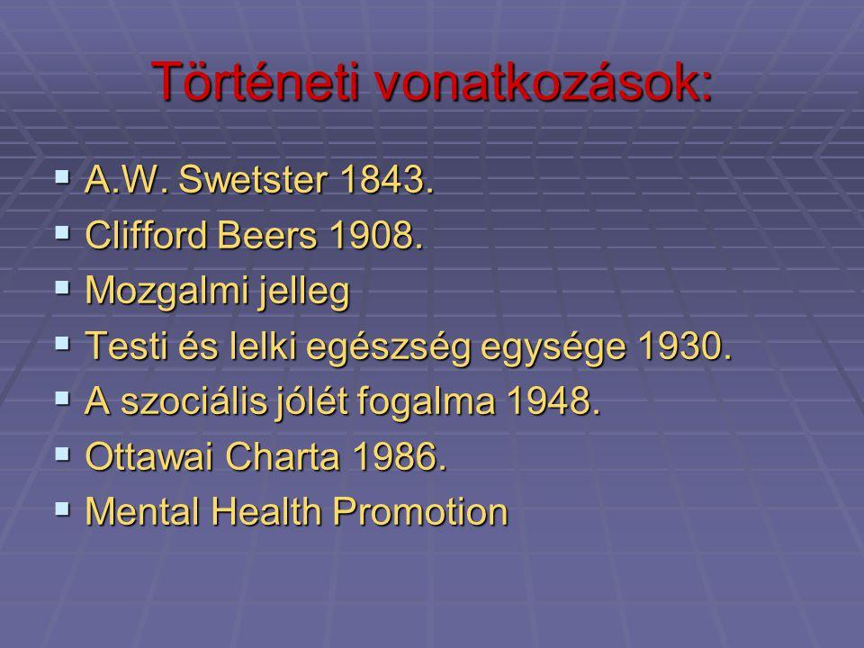 Történeti vonatkozások:  A.W. Swetster 1843.  Clifford Beers 1908.  Mozgalmi jelleg  Testi és lelki egészség egysége 1930.  A szociális jólét fog
