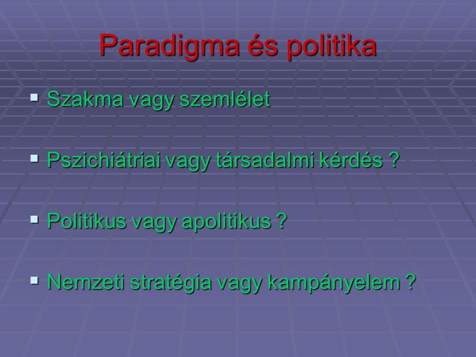 Paradigma és politika  Szakma vagy szemlélet  Pszichiátriai vagy társadalmi kérdés ?  Politikus vagy apolitikus ?  Nemzeti stratégia vagy kampánye
