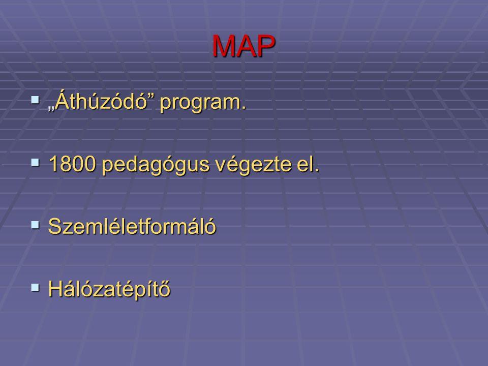 """MAP  """"Áthúzódó"""" program.  1800 pedagógus végezte el.  Szemléletformáló  Hálózatépítő"""