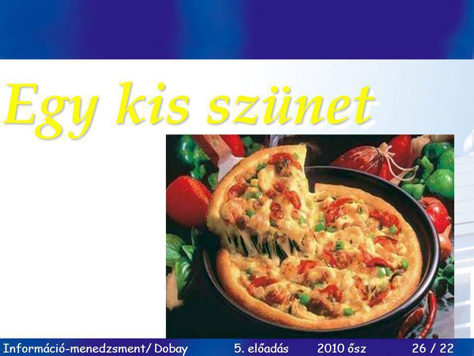 Információ-menedzsment/ Dobay 5. előadás 2010 ősz 26 / 22 Egy kis szünet