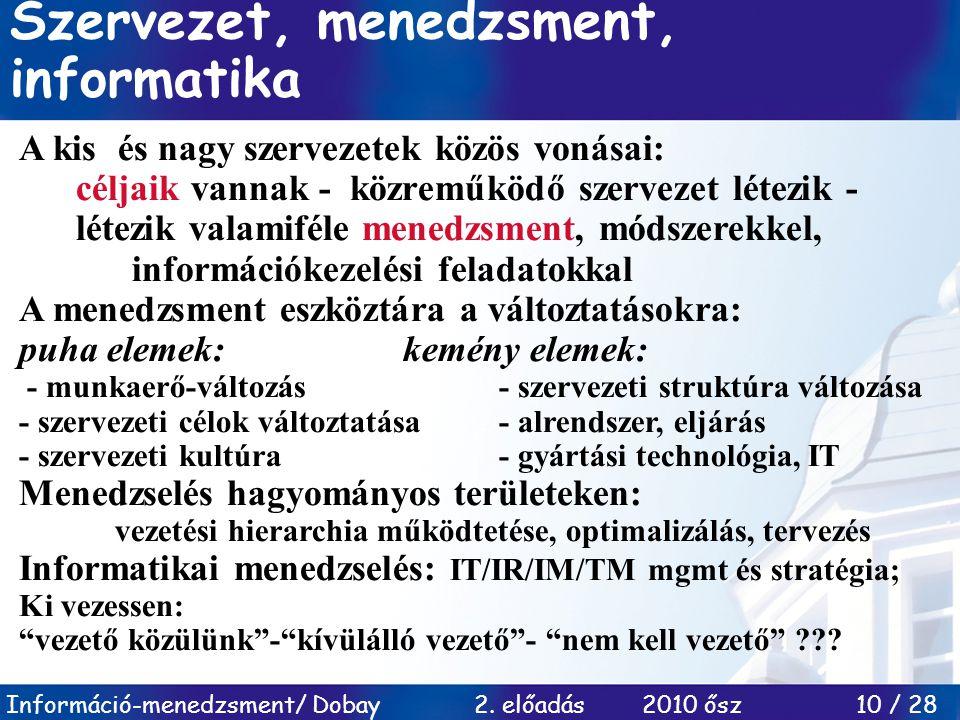 Információ-menedzsment/ Dobay 2. előadás 2010 ősz 10 / 28 Szervezet, menedzsment, informatika A kis és nagy szervezetek közös vonásai: céljaik vannak