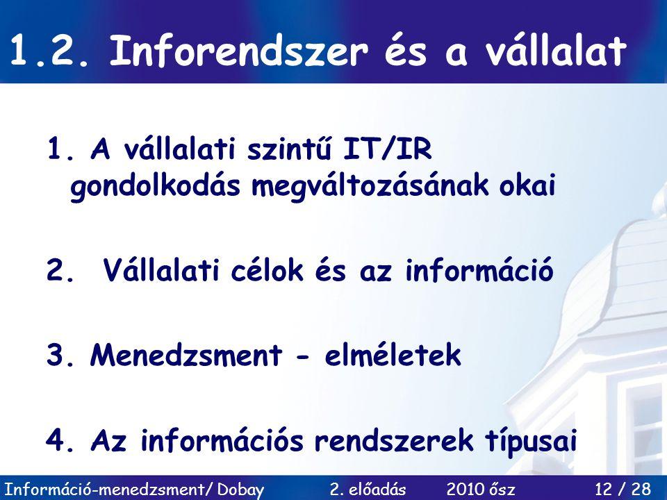 Információ-menedzsment/ Dobay 2. előadás 2010 ősz 12 / 28 1.2. Inforendszer és a vállalat 1. A vállalati szintű IT/IR gondolkodás megváltozásának okai