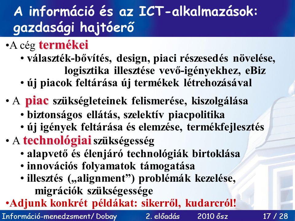Információ-menedzsment/ Dobay 2. előadás 2010 ősz 17 / 28 A információ és az ICT-alkalmazások: gazdasági hajtóerő termékeiA cég termékei választék-bőv