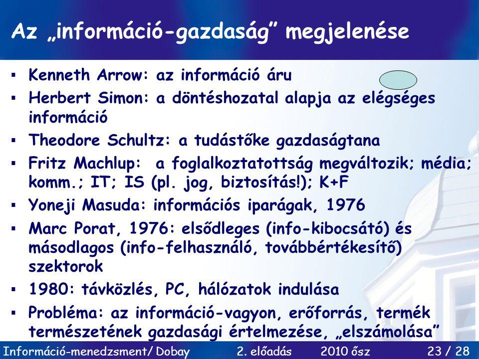 """Információ-menedzsment/ Dobay 2. előadás 2010 ősz 23 / 28 Az """"információ-gazdaság"""" megjelenése  Kenneth Arrow: az információ áru  Herbert Simon: a d"""