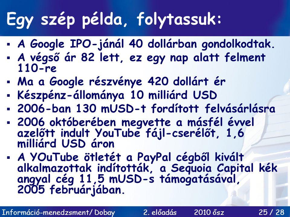 Információ-menedzsment/ Dobay 2. előadás 2010 ősz 25 / 28 Egy szép példa, folytassuk:  A Google IPO-jánál 40 dollárban gondolkodtak.  A végső ár 82