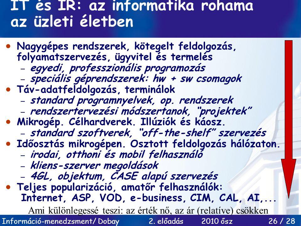 Információ-menedzsment/ Dobay 2. előadás 2010 ősz 26 / 28 IT és IR: az informatika rohama az üzleti életben  Nagygépes rendszerek, kötegelt feldolgoz