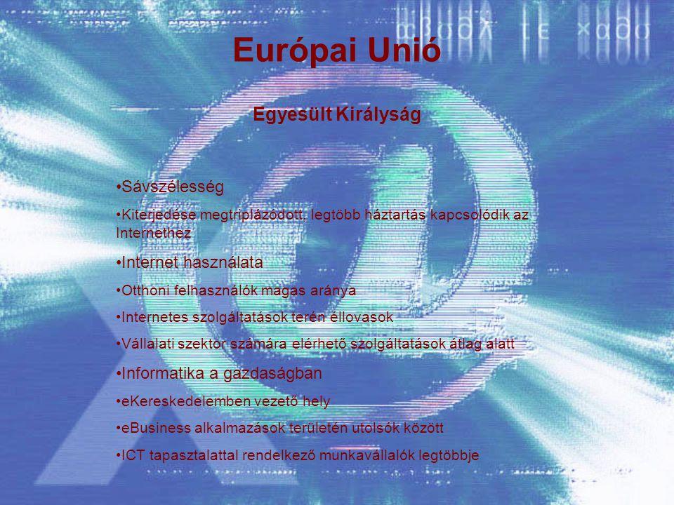 Európai Unió Egyesült Királyság Sávszélesség Kiterjedése megtriplázódott, legtöbb háztartás kapcsolódik az Internethez Internet használata Otthoni felhasználók magas aránya Internetes szolgáltatások terén éllovasok Vállalati szektor számára elérhető szolgáltatások átlag alatt Informatika a gazdaságban eKereskedelemben vezető hely eBusiness alkalmazások területén utolsók között ICT tapasztalattal rendelkező munkavállalók legtöbbje
