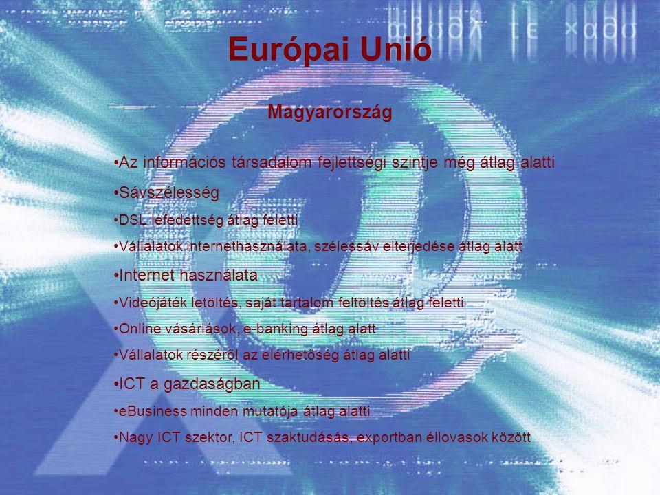 Európai Unió Magyarország Az információs társadalom fejlettségi szintje még átlag alatti Sávszélesség DSL lefedettség átlag feletti Vállalatok internethasználata, szélessáv elterjedése átlag alatt Internet használata Videójáték letöltés, saját tartalom feltöltés átlag feletti Online vásárlások, e-banking átlag alatt Vállalatok részéről az elérhetőség átlag alatti ICT a gazdaságban eBusiness minden mutatója átlag alatti Nagy ICT szektor, ICT szaktudásás, exportban éllovasok között