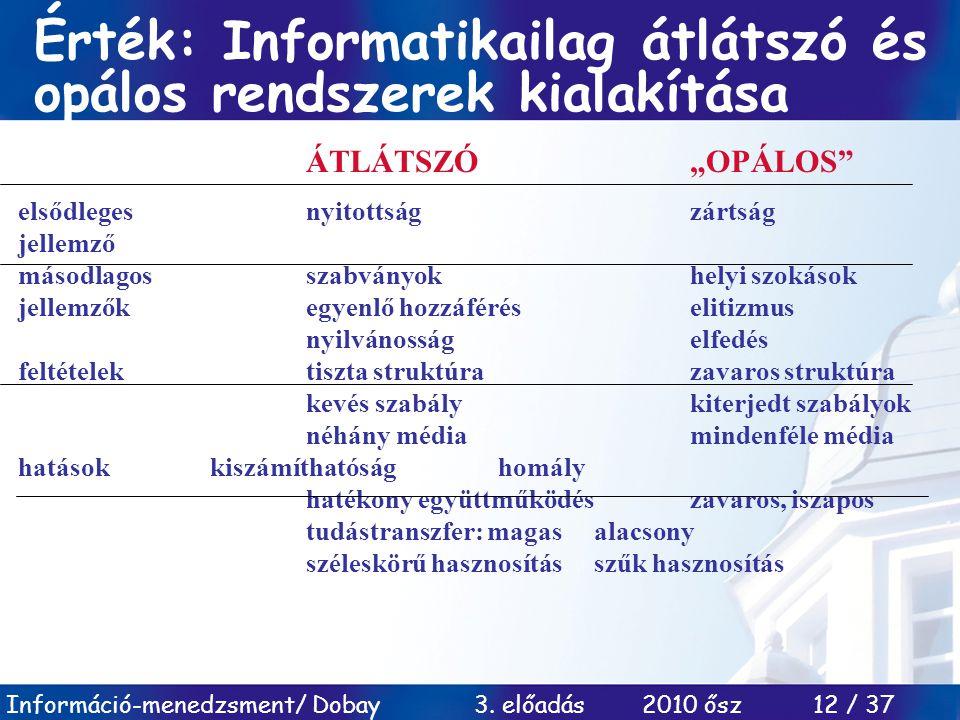 """Információ-menedzsment/ Dobay 3. előadás 2010 ősz 12 / 37 Érték: Informatikailag átlátszó és opálos rendszerek kialakítása ÁTLÁTSZÓ""""OPÁLOS"""" elsődleges"""