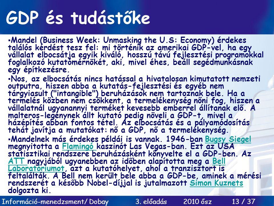 Információ-menedzsment/ Dobay 3. előadás 2010 ősz 13 / 37 GDP és tudástőke  Mandel (Business Week: Unmasking the U.S: Economy) érdekes találós kérdés