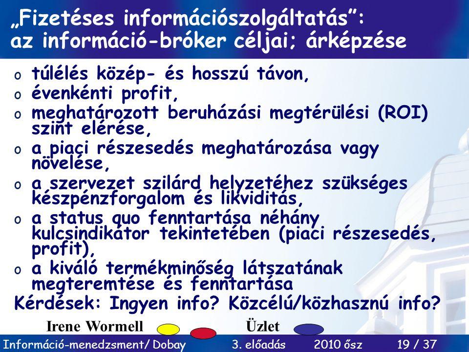 """Információ-menedzsment/ Dobay 3. előadás 2010 ősz 19 / 37 """"Fizetéses információszolgáltatás"""": az információ-bróker céljai; árképzése o túlélés közép-"""