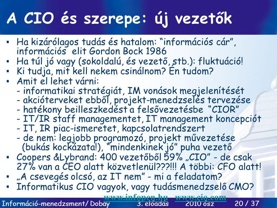"""Információ-menedzsment/ Dobay 3. előadás 2010 ősz 20 / 37 A CIO és szerepe: új vezetők  Ha kizárólagos tudás és hatalom: """"információs cár"""", informáci"""