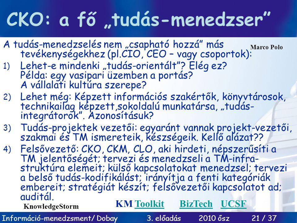 """Információ-menedzsment/ Dobay 3. előadás 2010 ősz 21 / 37 CKO: a fő """"tudás-menedzser"""" A tudás-menedzselés nem """"csapható hozzá"""" más tevékenységekhez (p"""