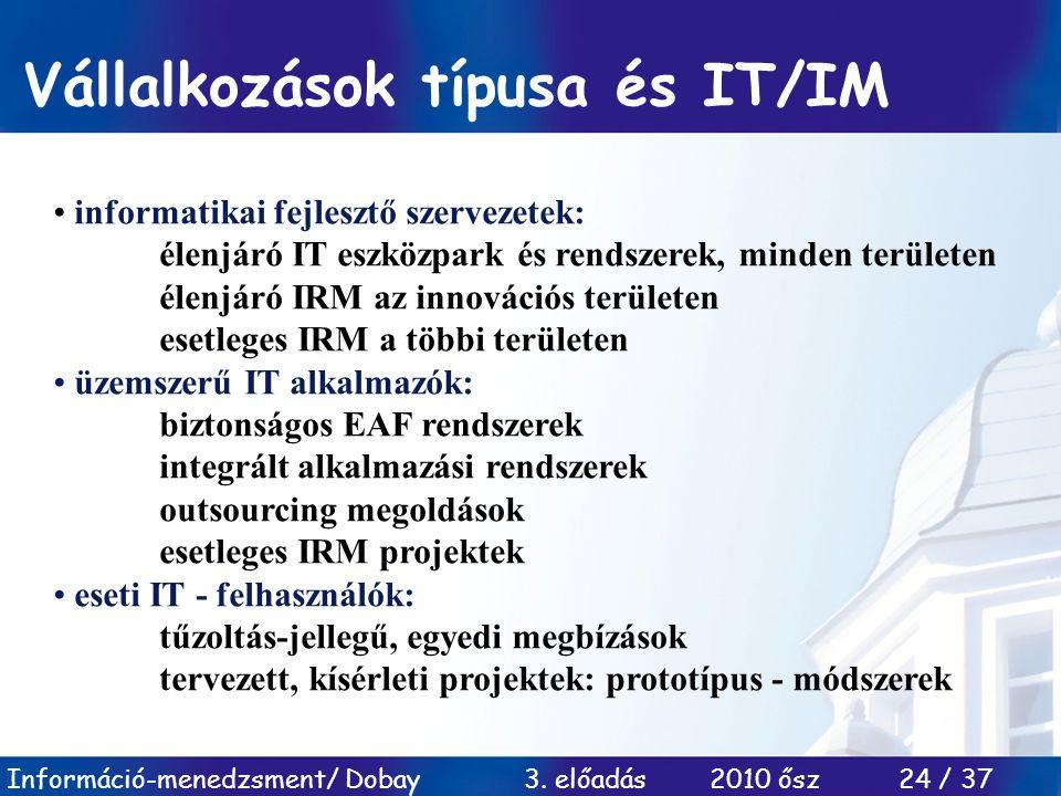 Információ-menedzsment/ Dobay 3. előadás 2010 ősz 24 / 37 Vállalkozások típusa és IT/IM informatikai fejlesztő szervezetek: élenjáró IT eszközpark és