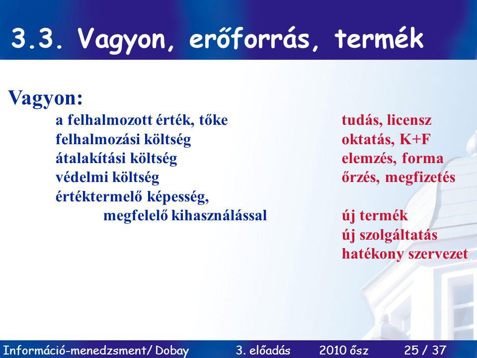 Információ-menedzsment/ Dobay 3. előadás 2010 ősz 25 / 37 3.3. Vagyon, erőforrás, termék Vagyon: a felhalmozott érték, tőketudás, licensz felhalmozási