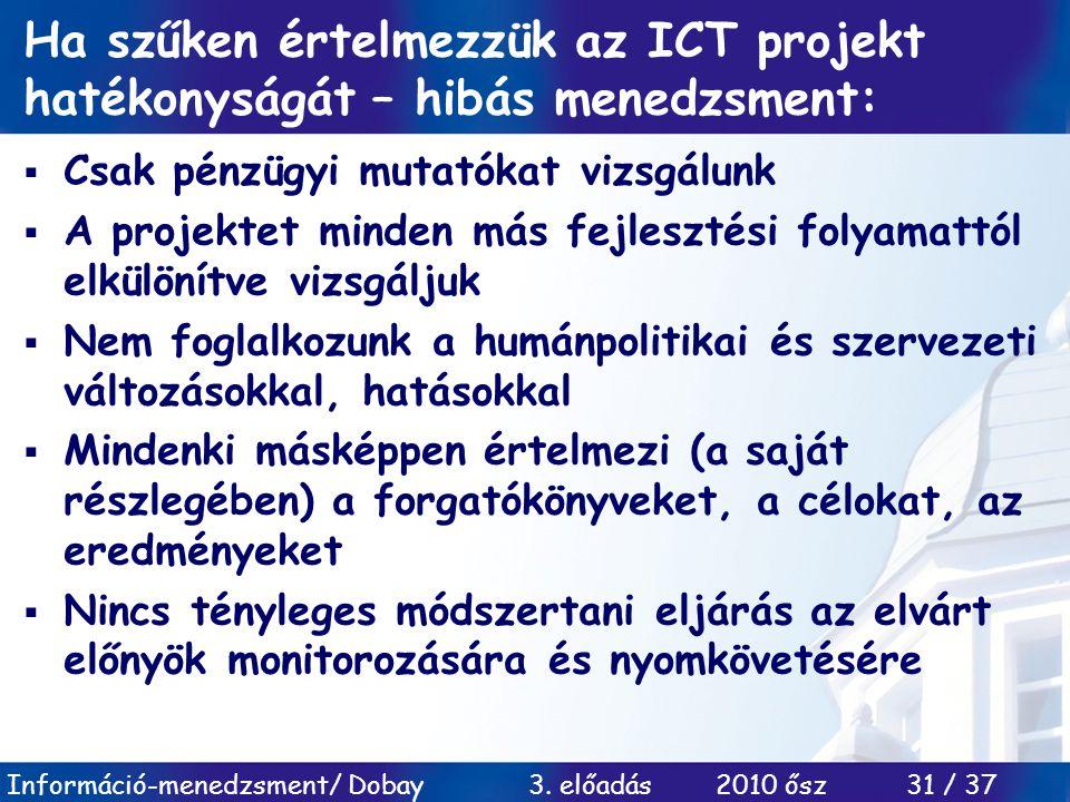 Információ-menedzsment/ Dobay 3. előadás 2010 ősz 31 / 37 Ha szűken értelmezzük az ICT projekt hatékonyságát – hibás menedzsment:  Csak pénzügyi muta