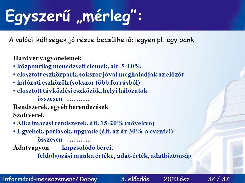 """Információ-menedzsment/ Dobay 3. előadás 2010 ősz 32 / 37 Egyszerű """"mérleg"""": A valódi költségek jó része becsülhető: legyen pl. egy bank Hardver vagyo"""