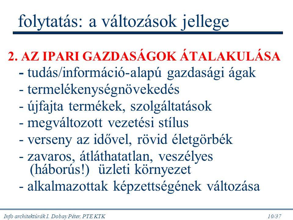 Info architektúrák I. Dobay Péter, PTE KTK 10/37 folytatás: a változások jellege 2. AZ IPARI GAZDASÁGOK ÁTALAKULÁSA - tudás/információ-alapú gazdasági